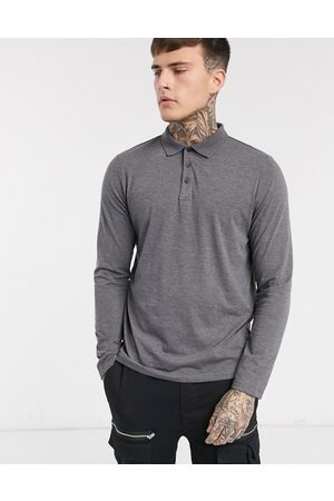 ASOS Organic long sleeve jersey polo in charcoal