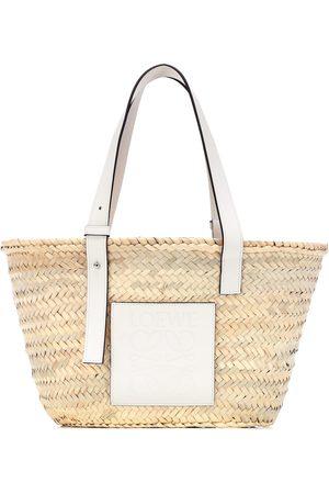 Loewe Medium leather-trimmed basket tote