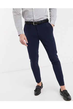 ASOS Super skinny cropped smart trousers in navy
