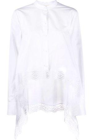 Alexander McQueen Camisa asimétrica con detalle de encaje