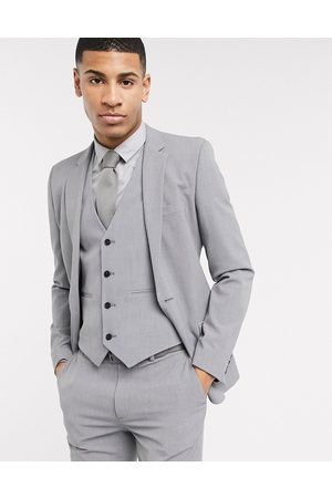 ASOS Super skinny suit jacket in four way stretch in mid grey