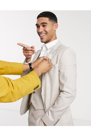 ASOS Wedding super skinny suit jacket in stretch cotton linen in stone