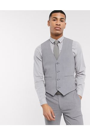 ASOS Super skinny suit waistcoat in four way stretch in mid grey