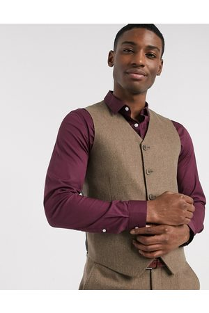 ASOS Wedding super skinny wool mix suit waistcoat in camel herringbone