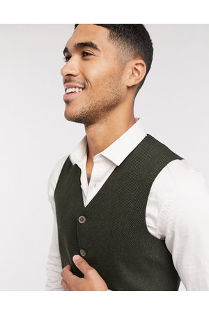 ASOS Wedding super skinny wool mix suit waistcoat in khaki herringbone