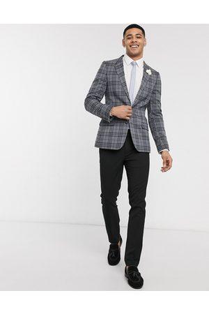 ASOS Wedding super skinny check blazer in grey