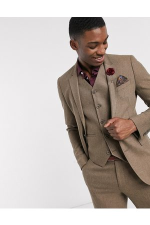 ASOS Wedding super skinny wool mix suit jacket in camel herringbone