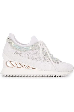 LE SILLA Embellished lace detail sneakers