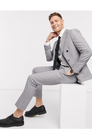 Moss Bros Moss London eco suit trousers in grey and pink check
