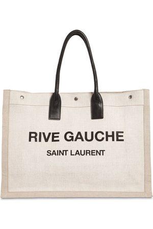 "Saint Laurent Bolso Tote ""noe"" De Lona Estampada Con Logo"