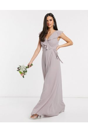 TFNC Bridesmaid ruffle detail maxi dress with thigh split in grey