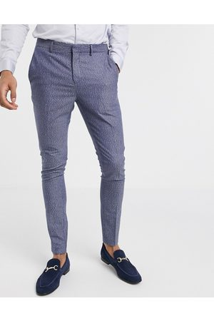 Selected Skinny fit stretch suit trousers in blue fleck