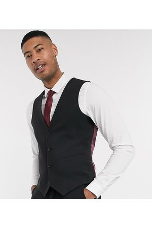 ASOS Tall super skinny suit waistcoat in four way stretch in black