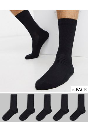 New Look Hombre Calcetines - Ribbed 5 pack sport socks in black