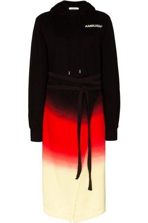 AMBUSH Vestido estilo sudadera con estampado tie-dye y capucha