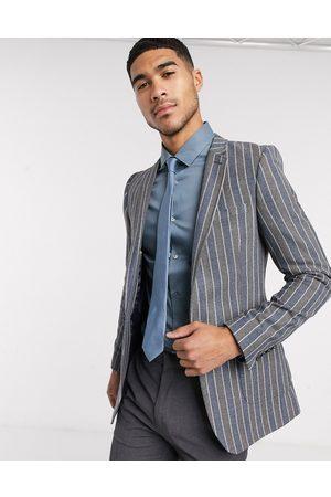 ASOS Super skinny blazer in navy and grey stripe