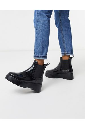 ASOS Gadget chunky chelsea rain boots in black