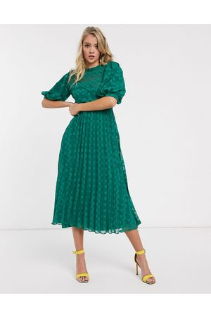 ASOS High neck pleated chevron dobby midi dress with puff sleeve in forest green