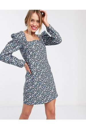 & OTHER STORIES Bold floral puff sleeve mini dress in multi
