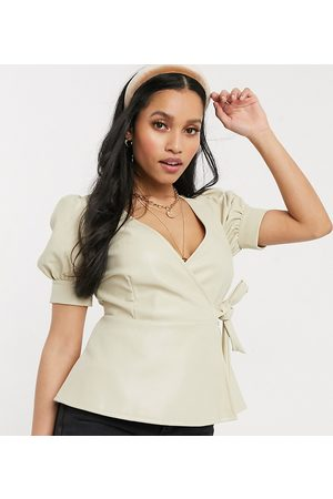 Vero Moda Wrap top in faux leather in cream