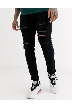 Liquor N Poker Skinny fit jeans with rips in black