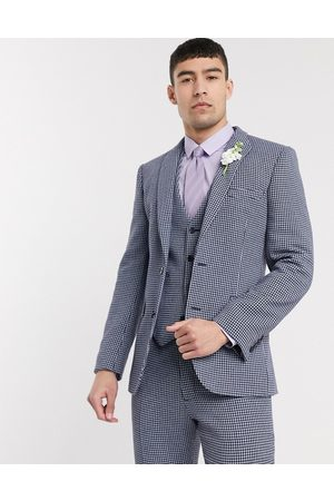 ASOS Wedding skinny suit jacket in blue and grey wool blend microcheck
