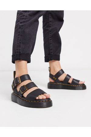 Dr. Martens Gryphon Quad leather chunky sandals with gold hardware in black