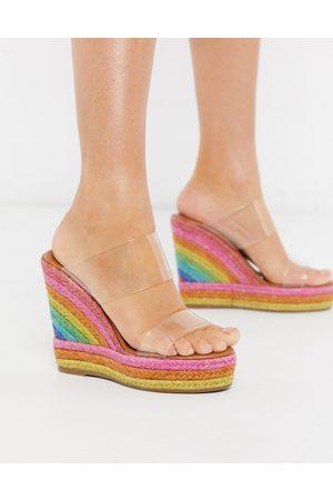 Kurt Geiger London Ariana rainbow wedge mule sandal