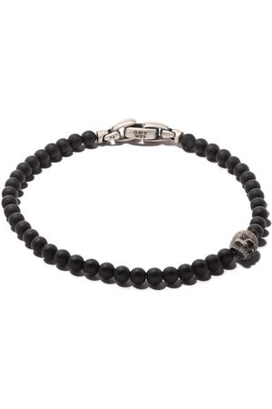David Yurman Pulsera Spiritual Beads con ónix negro y calavera de plata