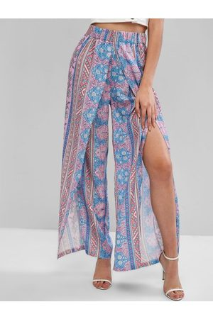 Zaful Mujer Anchos y de harem - Bohemian Floral High Waisted Tulip Pants