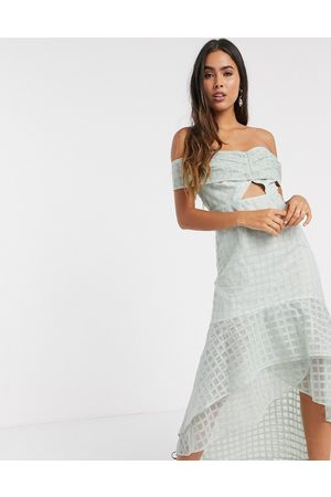 ASOS Off shoulder embrodiered midi pencil dress with ruffle detail and knot tie in light blue