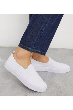 ASOS Wide Fit Dotty slip on plimsolls in white