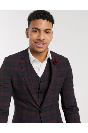 ASOS Wedding super skinny suit jacket in burgundy tartan