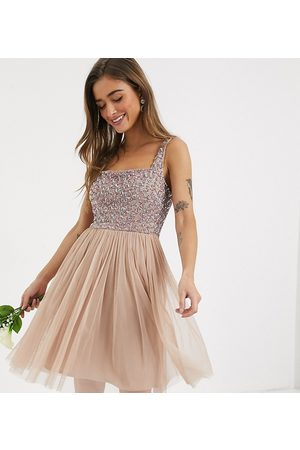 Maya Bridesmaid contrast delicate sequin square neck mini prom skater dress in taupe blush