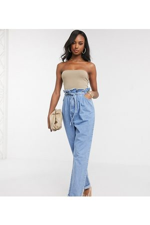 ASOS Mujer Baggy & boyfriend - ASOS DESIGN Tall tapered leg jeans with paper bag waist in light vintage wash