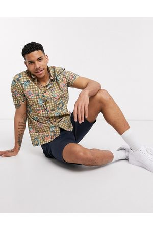 River Island Short sleeve shirt with geo floral print in green