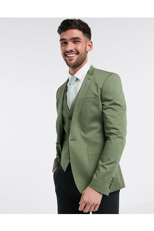 ASOS Super skinny blazer in olive stretch cotton