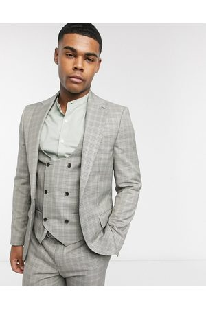 River Island Skinny suit jacket in grey check