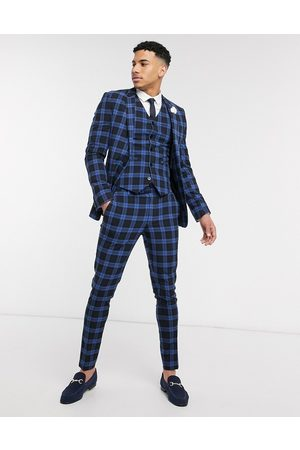 ASOS Wedding super skinny suit waistcoat in blue tartan highlight