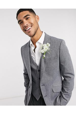 ASOS Wedding skinny blazer in charcoal texture