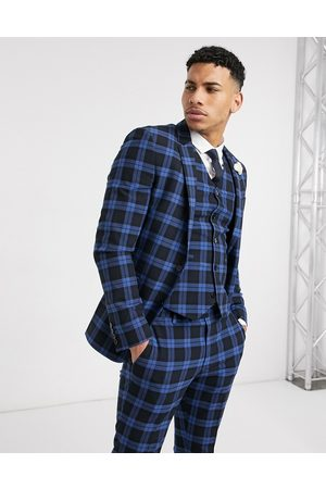 ASOS Wedding super skinny suit jacket in blue highlight tartan