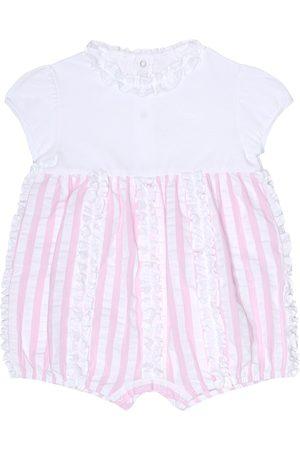 Il gufo Baby striped cotton onesie