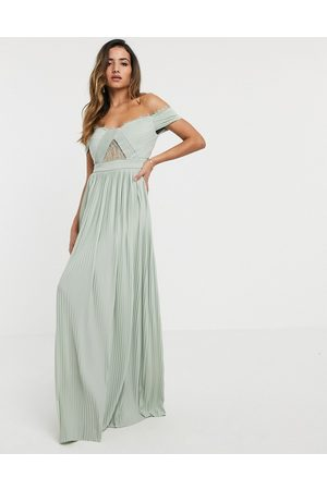 ASOS Premium lace and pleat bardot maxi dress in sage