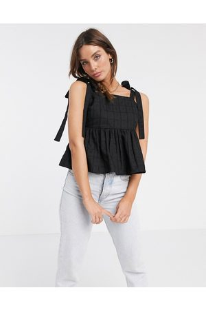 ASOS Square neck sun top with tie straps in textured grid in black