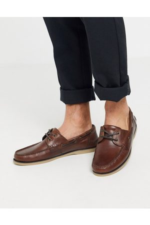 ASOS Boat shoes in tan leather with gum sole