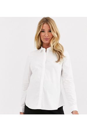 ASOS ASOS DESIGN Maternity long sleeve fitted shirt in stretch cotton in white