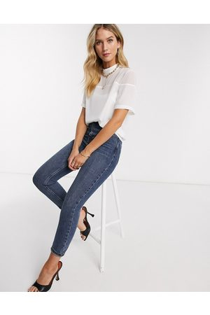 ASOS Short sleeve high neck top in sheer and solid in ivory