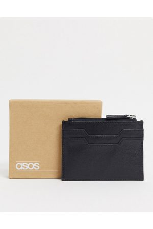 ASOS DESIGN Leather cardholder with zip in black
