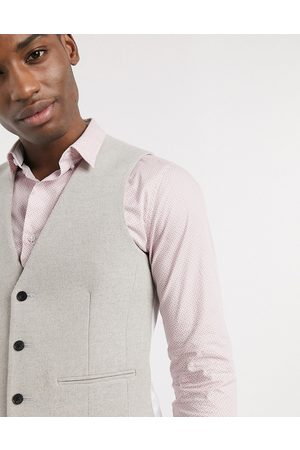 ASOS Wedding skinny suit waistcoat in putty wool blend twill
