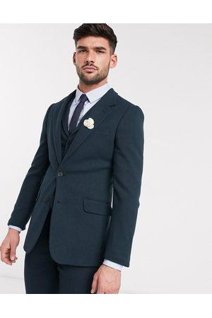 ASOS Wedding super skinny suit jacket in dark green wool blend twill